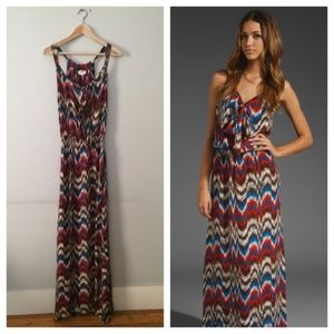 PARKER Tie Front Maxi Coral Zig Zag Dress Small
